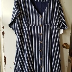 Black and White Stripped Button Up Mini Dress